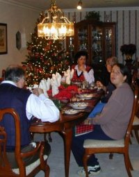 Before we started any candy, we had a wonderful meal in Chris and Mike's beautifully decorated home.